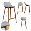 bar stool gray fabric metal feet, 1-time ass