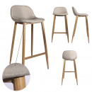 bar stool fabric beige metal feet, 1-time as