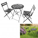 garden table and chairs x2 black