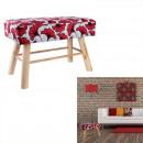 bench feet wood wax red 42x60x30 cm