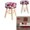 drewniane nogi taboret wosk czerwony 42x31,5 cm