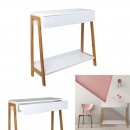 console with white drawer and wood 83.8x34x77cm