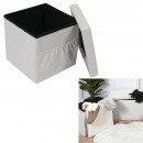 Foldable pouf pouf beige fabric