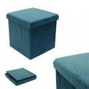 foldable pouf velvet a blue pattern