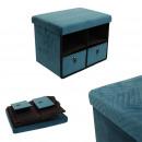 foldable bench drawer x2 velvet a blue pattern