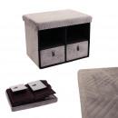 foldable bench drawer x2 velvet a gray pattern