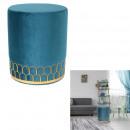 pouffe velvet blue metal lisere
