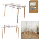 glass table metal legs wood effect 75x115cm