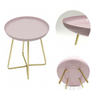 side table pink glossy round tray