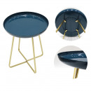 side table round tray glossy blue