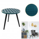 wood side table with blue pattern lisere dore