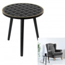 wood side table with black pattern lisere dore