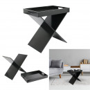 side table removable tray black