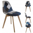 gray blue patchwork chair