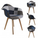 gray blue patchwork armchair
