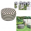 black white striped beanbag