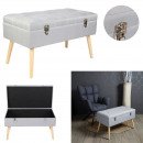 light gray suitcase trunk bench