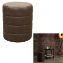 pouffe pu brown chester