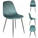 chaise velours cotele giulia bleu canard