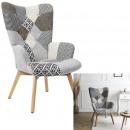 szary patchworkowy fotel helsinki