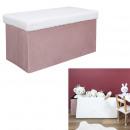 pink foldable bench box faux fur leo