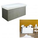 gray foldable bench box faux fur leo