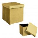 foldable pouf chest velvet cotele giulia yellow