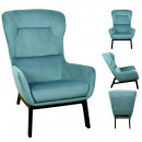 fauteuil velours cotele roma bleu canard