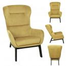 fauteuil velours cotele roma jaune moutarde