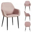 fauteuil giulia rose velours cotele