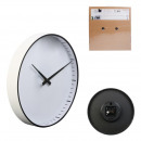 white wall clock with black finish, 2-fold asso