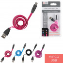 LED flat cable charge and sync Micro USB, 4-time
