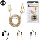 cable charge sync type c micro usb tresse 2en1, 3-