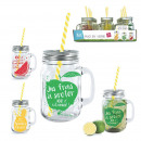 fruity glass mug 440ml with straw 3-times assorted
