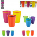 wholesale Drinking Glasses: two-tone glass x3, 2 times assorted