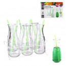 Bottle with straw x6 and x1 rack metal, 1-fold