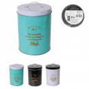 wholesale Kitchen Utensils: round metal box with handle, 3- times assorted