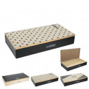 box coffee rectangular wood compartments x3, 3-