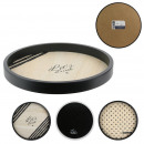 round wooden tray, 3- times assorted