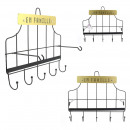 patere metal 5 hooks and black bar, 1-time ass