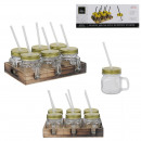 mason jar pm x6 and wood stand, 1- times assorted