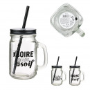mason jar bistrot straw 45cl, 2- times assorted