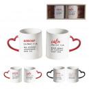 gift box mug with heart shape handle, 2-time assor