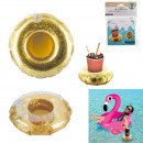 Inflatable cup holder with golden glitter