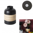 Decorative pot in black bamboo wax 22cm