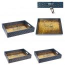 plateau rectangulaire bois 35x25x6cm shine, 2-fois