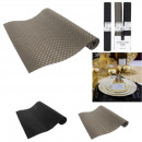 wholesale Table Linen: black and silver table runner 150x33cm, 2-fold ass