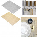 wholesale Table Linen: gold and silver plated table set 30x45cm, 2-fold a