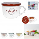 wholesale Household & Kitchen: soup bowl with lid 62.5cl, 3- times assorted