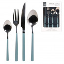 wholesale Cutlery: 16 pieces light blue handle